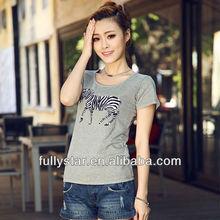beaded zebra short fashion basic t-shirt