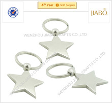 2015 years cheap cost blank design Zinc alloy material metal shape star keychains