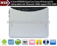 High quality 9.7inch mid tablet pc MTK8389 Quad core IPS Screen Dual 3G SIM card slot with GPS, Bluetooth, ATV, Wifi, FM.