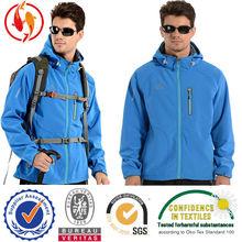New design 2014 waterproof windproof blue mens softshell jacket