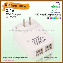 Large current 3.1A 4 port wall charger
