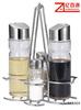 metal rack clear glass oil vinegar cruet set