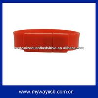 Red silicon usb bracelet 16gb with custom logo