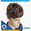 الأسود الطبيعي الهندي الإنسان الحقيقي الشعر المجعد القصير شعر مستعار الرجال والشعر المستعار للبيع