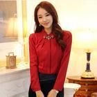 Wholesale S- 5XL Plus Size Korean Office Style Shirts Fitness Women 2014 Autumn New Fashion Long Sleeve Blouses With Rhinestones