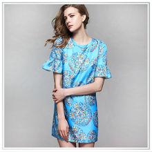 2014 top quality digital printing silk dress