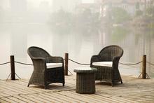 Rattan outdoor modern armchairs 2 seats