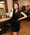 frete grátis 2014 nova moda feminina vestido de renda preto com decote em v sexy vestido venda quente