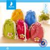 Candy color velvet drawstring storage bag
