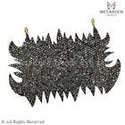 92.5 Sterling Silver Diamond Jewelry, Designer Flam Pave Diamond Charms Pendant, 14k gold Pave Diamond Chams