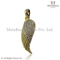 14k Wings Pave White Diamond Pendant & Charms, 92.5 Sterling Silver Charms Pendant, Designer Diamond Angel Wings Pendant