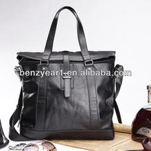Factory Wholesale Nickel Color Metal Black Genuine Leather with Long Shoulder Strap Men Fashion Handbag
