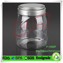 candy packaging container 1000ml with lid,PET airtight plastic food storage container