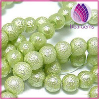 High quality bead green 12mm round wrinkled skin glass pearl