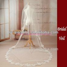 300*146cm one layer emboridered lace edge wedding veil silk tulle