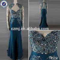2014 latest floor length sequined beaded sheer lace chiffon mermaid peacock long sleeve prom dresses