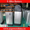 Li ion battery 36V/48V e bike battery silver fish