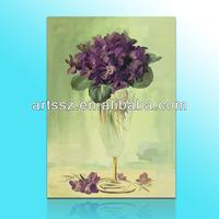 handmade high quality purple flower oil painting on canvas