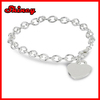 link chain Sterling Silver Charm Bracelet with Large Heart Charm