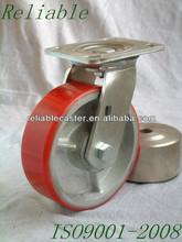 """6x2"""" Swivel Red PU On Steel Industrial Heavy Duty Caster Wheel"""