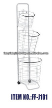 metal shopping basket holder wire basket with wheels