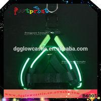 LED single optical fiber flahsing dog chest harness fabric