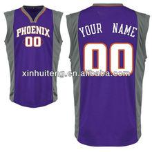 v neck purple print 100% polyester custom wholesale high school basketball wears
