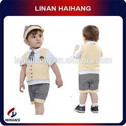 China supplier cotton t-shirt vest pants 3pcs sets baby clothing
