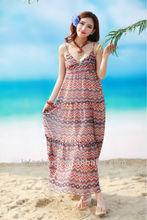 Women long chiffon dress african printed chiffon dresses