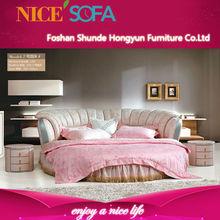 2014 Lastest design modern best sexy soft round leather bed T2