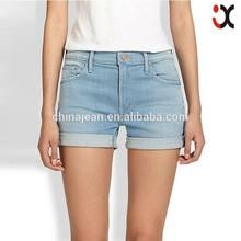 2014 precio de fábrica de nuevo diseño de jean de mezclilla pantalones pitillo mujer pantalones cortos de mezclilla( jxw2501)