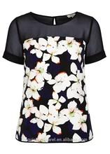 2015 alta calidad imprimió mujer elegante blusa de manga corta floral blusa de la gasa