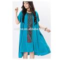 2014 verano original del diseño del algodón del estilo sólido azul vintage bordado elegante de la corto manga vestidos