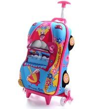 3D kids school trolley bag