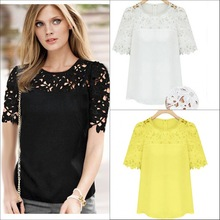C23933A EUROPEAN STYLE SUMMER LATEST HOLLOW OUT WOMAN CHIFFON WOMAN'S TOPS