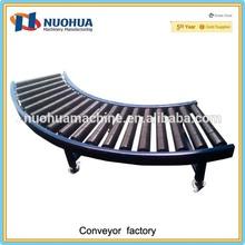 Gravity curved roller conveyor racks