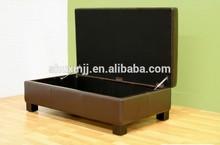 Dark Brown Leather Storage Ottoman 018