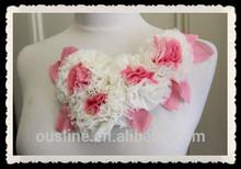 Cute embroidered shabby chiffon flower applique, chiffon adult collar