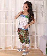 M40035A 2014 fashion leisure sleeveless printed summer girls kids set