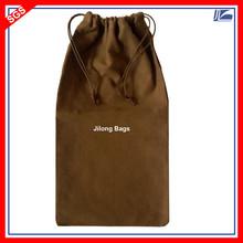 Brown Cotton Linen Drawstring Bag For Long Purse