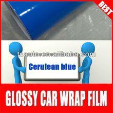 TSAUTOP RoHS certificate 1.52*30m air Free bubbles air free glossy blue vinyl car wrap