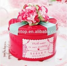 2015 top grade rose red round wedding favors tin gift box