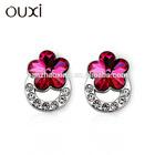 2014 Fashion crystal airplane earrings made Austrian crystal crown stud earrings 20788