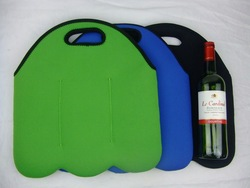 Wholesale Promotional Low Price Navy Fancy Edge Scuba Wet Portable Cute Refrigerated 3 Pack Neoprene Bottle Wine Tote Bags