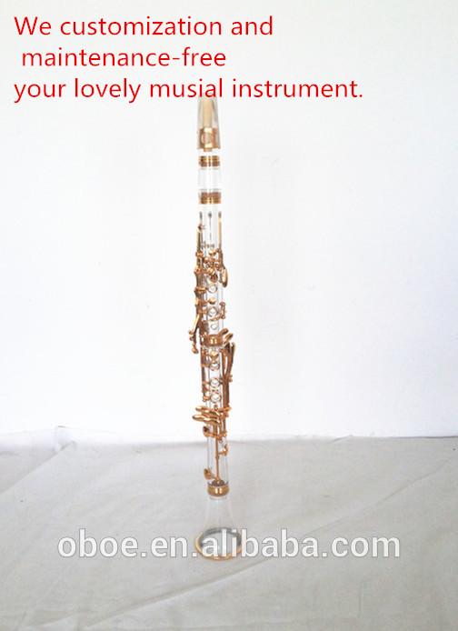 instrumento musical de acrílico transparente corpo banhado a ouro clarinete 1901g