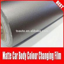 TSAUTOP top quality RoHS certificate 1.52*30m air Free bubbles adhesive Dark grey matt vinyl wrap