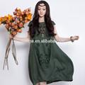 original diseño de una sola pieza de la manga de la tapa de algodón color verde suelto hasta la rodilla vestido con manga de la tapa para las señoras