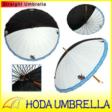 Creative 25''*24K wooden straight umbrella with classic Gin Tama white and black fabric