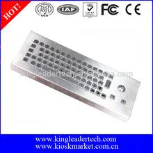 High end industrial rugged metal desktop keyboard with trackball