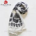 venta caliente del cráneo patrón de colorido larga bufanda de poliéster elemento de un dólar